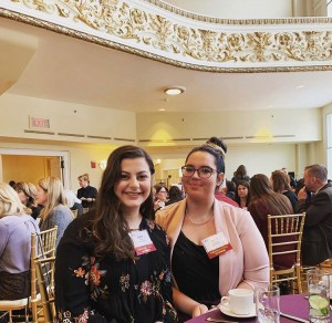 Sophia Prouty '21 and Bridget Canavan '21 pictured at the Worcester Business Journal's Outstanding Women in Business Conference in Worcester, MA.