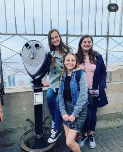 Panel member Sophia Prouty '21 and Molly Sklarz '20 on top of the Empire State Building during our NYC trip '18.