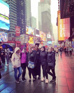 IWL Students in front of Times Square near the end of the day.
